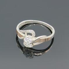 Акция на Серебряное кольцо с золотыми вставками арт013 18,5 размер от Allo UA