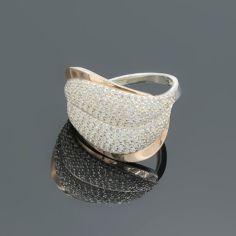Акция на Серебряное кольцо с золотыми вставками Морская волна 17,5 от Allo UA