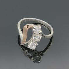 Акция на Серебряное кольцо с золотыми вставками 016, 19,5 размер от Allo UA