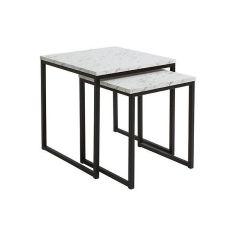 Акция на Комплект журнальных столиков BRW Aroz D05034-LAW/40+LAW/50-MCB, мрамор белый Каррара/черный, от Allo UA