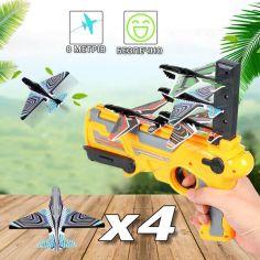 Акция на Детский игрушечный пистолет катапульта запускающий самолетики Eys Toys Air Battle K 5000 Желтый от Allo UA