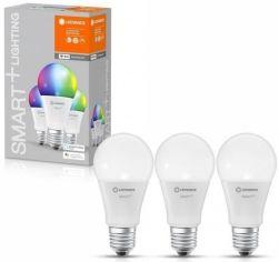 Акция на Набор ламп LEDVANCE OSRAM LEDSMART+WiFi A60 9W (806Lm) 2700-6500K + RGB E27, 3шт (4058075485754) от MOYO