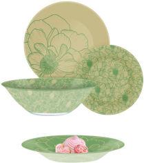 Акция на Сервиз столовый Luminarc Big Flower Green 19 предметов (Q4859) от Rozetka