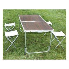 Акция на Стол для пикника раскладной со стульями 4life 120х60х55 / 60/70 см (3 режима высоты) Коричневый от Allo UA