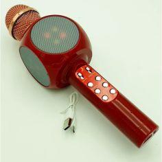 Акция на Микрофон Караоке с динамиком и цветомузыкой USB AUX Ukc WS-1816 в коробке Красный от Allo UA