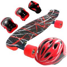 """Акция на Скейт Penny Style 22"""" Combo Набор (защита + шлем) светящиеся Forest Red (2T2034) от Allo UA"""