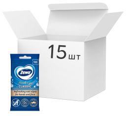 Акция на Упаковка влажных салфеток Zewa Classic 10 шт х 15 упаковок (7322540883664) от Rozetka