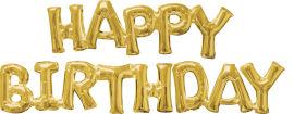 Акция на Шарики воздушные Amscan Phrase Happy Birthday Gold P60 (3609901) от Rozetka