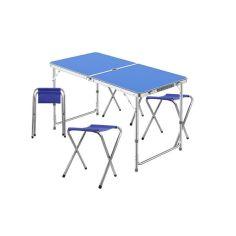 Акция на Стол складной Lanyu L-2-U Blue с 4 стульями раскладной садовый от Allo UA