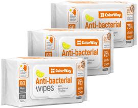 Акция на Спиртовые антибактериальные салфетки ColorWay для дезинфекции 15x17 см 3 упаковки по 60 шт (CW-3963) от Rozetka