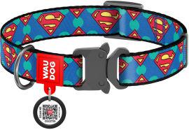 """Акция на Ошейник для собак нейлоновый Collar WAUDOG Nylon c QR паспортом, рисунок """"Супермен Лого"""", металлическая пряжка-фастекс, M, Ш 20 мм, Дл 24-40 см (0020-2006) от Rozetka"""