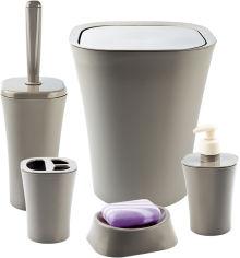 Акция на Набор аксессуаров для ванной комнаты PLANET Papillon 5 предметов латте от Rozetka