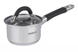 Акция на Ковш Ardesto Gemini стеклянная крышка 0,8 л серые ручки с силиконом нержавеющая сталь AR1908SS от Podushka