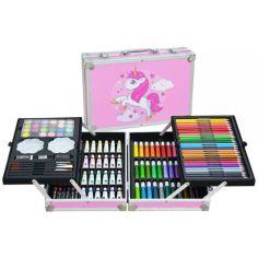 Акция на Набор для рисования и творчества Единорог для девочек  в алюминиевом чемоданчике 145 предметов UNICORN от Allo UA