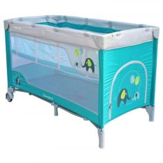 Акция на Манеж - кроватка 2 в 1 Baby Mix HR-8052 Слоник Голубой с колесами и матрасом + система Double Lock и сумка для переноски от Allo UA