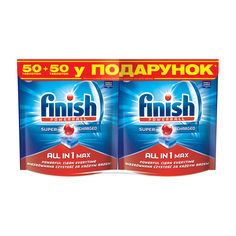 Таблетки для посудомоечных машин FINISH All in 1 Max 50 шт + 50 шт (4820108002548) от Rozetka