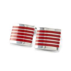 Акция на Запонки из стали с красными полосами Арт. CFM008SL от Allo UA
