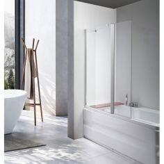 Акция на Стеклянная шторка ширма для ванны AVKO Glass 542-1 40+60x140 Clear, две секции, универсальная, душевая перегородка от Allo UA