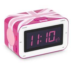 """Акция на Радиоприемник с будильником """"Британский флаг"""", розовый 16х10 см от Allo UA"""