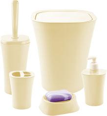 Акция на Набор аксессуаров для ванной комнаты PLANET Papillon 5 предметов кремовый от Rozetka