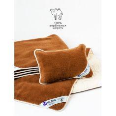 Акция на Комплект односпальный HILZER (CAMEL/SATIN), 100% верблюжья шерсть + Сатин (одеяло 140х200, подушка 40x60, наматрасник 100x200 см.), Италия, 5 лет гарантия от Allo UA
