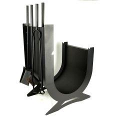 Акция на Каминный набор с дровницей металлический кованый Ferrum Peryn Black, 35х48х80см. от Allo UA