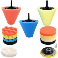 Акция на Полировальные круги для авто и насадки для полировки колес с шлифовальными диском  набор (14 шт) от Allo UA