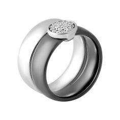 Акция на Кольцо из серебра с куб. циркониями и керамикой, размер 15.5 (1750373) от Allo UA