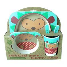 Акция на Набор детской бамбуковой посуды Stenson MH-2770-21 ёжик, 5 предметов от Allo UA