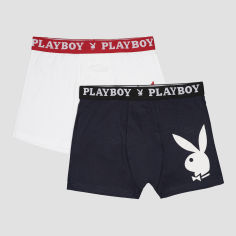 Акция на Трусы-шорты Playboy Annya-23 XL 2 шт Белые/Синие (5050073554189) от Rozetka