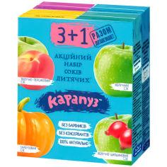 Акция на Набор соков Карапуз 3+1 в ассортименте 4х200 мл от Auchan