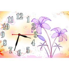 Акция на Детские настенные часы Aim Фиолетовые цветы, 30х45 см от Allo UA
