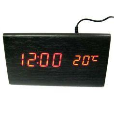 Акция на Электронные цифровые настольные часы дерево VST 861 подсветка Red от Allo UA