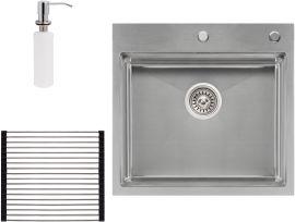 Акция на Кухонная мойка QTAP DH5050 3.0/1.2 мм Satin с сушилкой и дозатором от Rozetka