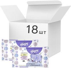 Акция на Упаковка детских влажных салфеток Bella Baby Happy с витамином Е для ухода за кожей младенцев 18 пачек по 24 шт (BB-062-W024-007) от Rozetka