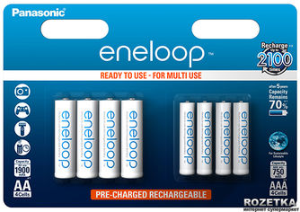 Аккумулятор Panasonic eneloop AA 1900 мАч + AAA 750 мАч Ni-MH 8 шт (BK-KJMCCE44E) от Rozetka