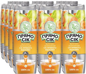 Акция на Упаковка сока прямого отжима Прямосок Яблочно-морковный 1 л х 12 шт (4820003688700_4820003688366) от Rozetka