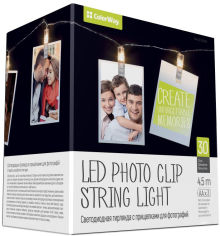 Акция на Светодиодная гирлянда СolorWay с прищепками для фото 30 LED/4.5 м (CW-LCP-30L45B) от Rozetka