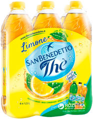 Упаковка холодного черного чая San Benedetto Лимон 1.5 л х 6 бутылок (8001620000885) от Rozetka