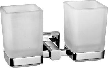 Акция на Стакан для зубных щеток AQUA RODOS Leonardo 9928А двойной стекло/хром от Rozetka