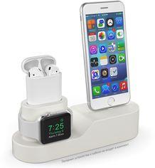 Силиконовая подставка AhaStyle 3 в 1 для Apple Watch, AirPods и iPhone Beige (AHA-01280-BGE) от Rozetka