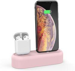 Акция на Силиконовая подставка AhaStyle 2 в 1 для Apple AirPods и iPhone Pink (AHA-01550-PNK) от Rozetka