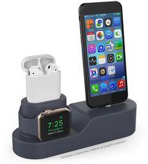 Акция на Силиконовая подставка AhaStyle 3 в 1 для Apple Watch, AirPods и iPhone Navy blue (AHA-01280-NBL) от Rozetka