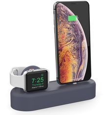 Акция на Силиконовая подставка AhaStyle 2 в 1 для Apple Watch и iPhone Navy blue (AHA-01560-NBL) от Rozetka