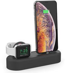 Акция на Силиконовая подставка AhaStyle 2 в 1 для Apple Watch и iPhone Black (AHA-01560-BLK) от Rozetka