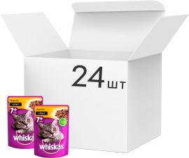 Упаковка влажного корма для котов от 7 лет Whiskas с курицей в соусе 100 г 24 шт (3065890128460) от Rozetka