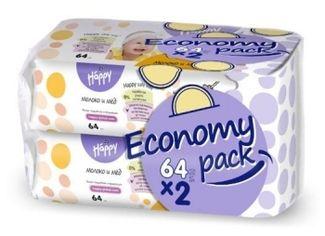Детские влажные салфетки Bella Baby Happy Milk & Honey Economy Pack, 2х64 шт. от Pampik
