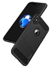 Акция на Накладка iPaky Slim Carbon TPU Для Apple iPhone X Gray от Територія твоєї техніки