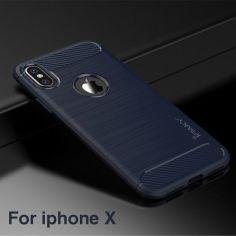 Акция на Накладка iPaky Slim Carbon TPU Для Apple iPhone X Blue от Територія твоєї техніки