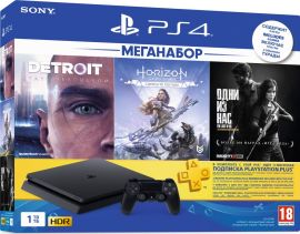 Игровая приставка Sony PlayStation 4 Slim 1TB Black (CUH-2208B) HZD+DET+TLOU+PSPlus 3М от Територія твоєї техніки
